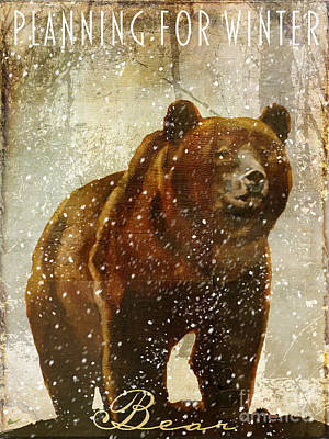 Brown Bear Painting - Winter Game Bear by Mindy Sommers