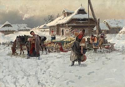 Painting - Winter Games, Jaroslav Vesin 1892 by Jaroslav Vesin