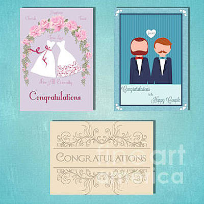 Digital Art - Winter Gay Wedding by JH Designs