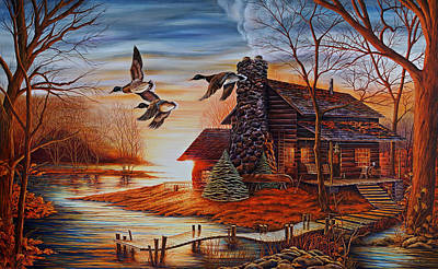 Log Cabin Art Painting - Winter Getaway by Carmen Del Valle