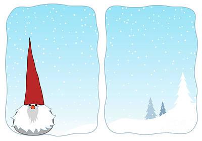 Winter Gnome In A Snowy Window Art Print