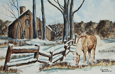 Split Rail Fence Painting - Winter Grazing  by Charlotte Blanchard