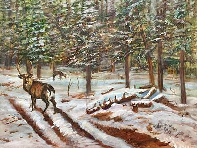 Painting - Winter Grazing by Charme Curtin
