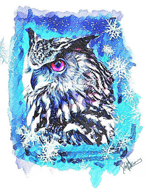 Digital Art - Cute Screech Owl Winter Artwork by David MCKINNEY