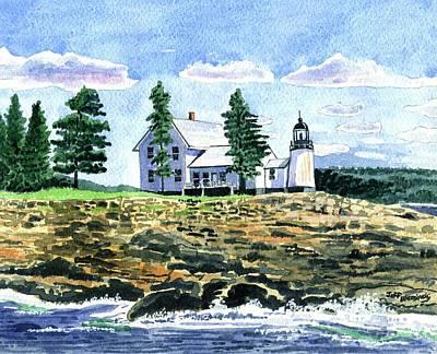 New England Lighthouse Painting - Winter Harbor Light by Jeff Blazejovsky
