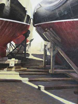 Painting - Winter Harbor Me by David Rodman Johnson