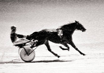 Digital Art - Winter Harness Racing by Ari Salmela
