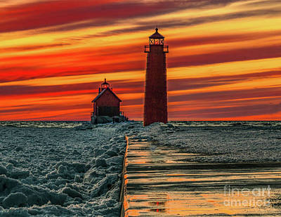 Photograph - Winter Sunset At Grand Haven by Nick Zelinsky