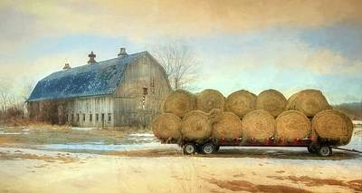 Photograph - Winter Hay Bales by Lori Deiter