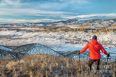 Horsetooth Mountain Photograph - winter hiking Rocky Mountains foothills by Marek Uliasz