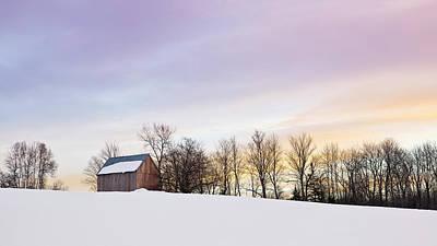 Photograph - Winter Hilltop Barn by Alan L Graham
