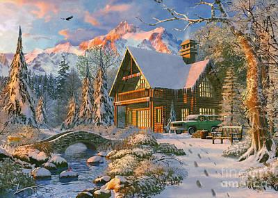 Winter Holiday Cabin Art Print by Dominic Davison