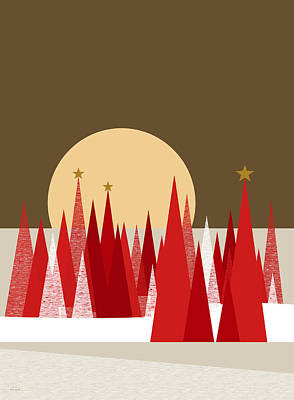 Digital Art - Winter Holiday Stars by Val Arie