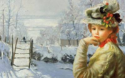 Woman Digital Art - Winter Holly by Laura Botsford