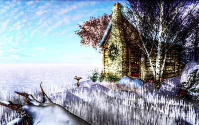 Warm Digital Art - Winter Home by Alina Davis