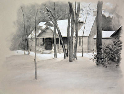 Drawing - Winter Home by Christopher Reid