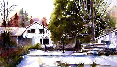 Art Print featuring the painting Winter Homestead by Marti Green