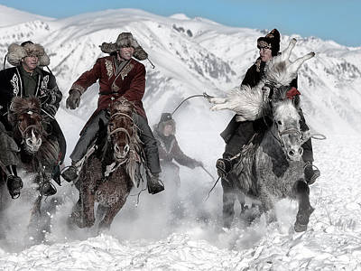 Horse Snow Photograph - Winter Horse Race by Bj Yang