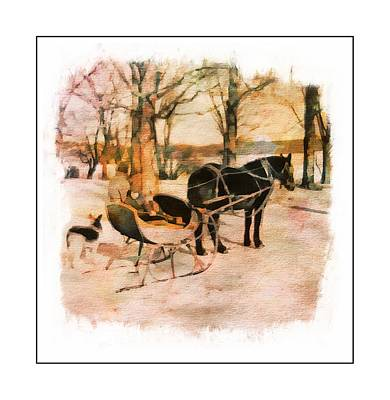 Winter Horse Sled Art Print