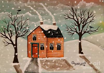 Primitive Folk Art Painting - Winter House by Karla Gerard