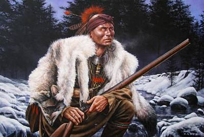 American Indian History Painting - Winter Hunter  by Dan  Nance