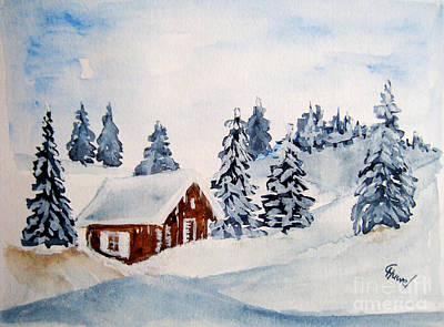 Snow Painting - Winter Hut by Christine Huwer