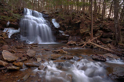 Photograph - Winter Ice Remains At Dutchman Falls by Gene Walls