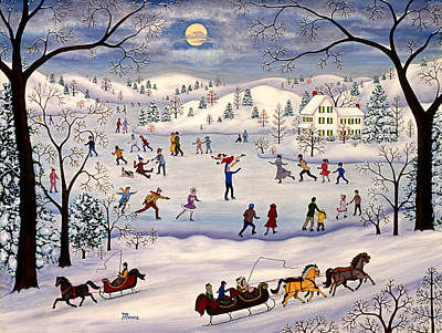 Snowscape Painting - Winter Ice Skating by Linda Mears