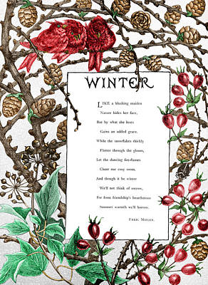 Digital Art - Winter II, A Poem by Ruth Moratz