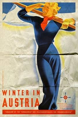 Mixed Media - Winter In Austria - Folded by Vintage Advertising Posters