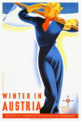 Mixed Media - Winter In Austria - Restored by Vintage Advertising Posters
