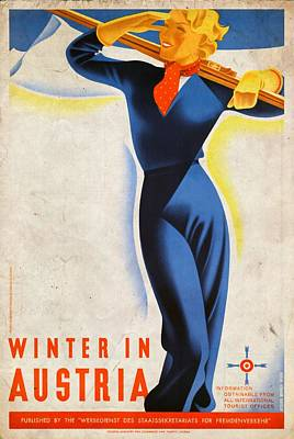 Mixed Media - Winter In Austria - Vintagelized by Vintage Advertising Posters