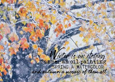 Photograph - Winter In Autumn Quote by JAMART Photography