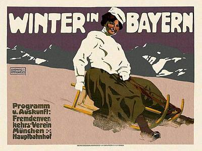 Royalty-Free and Rights-Managed Images - Winter in Bayern - Bavaria, Germany - Woman Seated on Sled - Retro travel Poster - Vintage Poster by Studio Grafiikka
