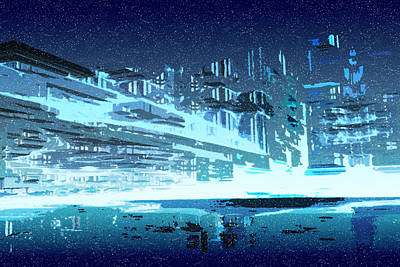 Snowstorm Digital Art - Winter In Blue City by Carol and Mike Werner