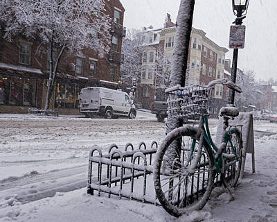 Photograph - Winter In Boston Charles Street Beacon Hill Bicycle by Toby McGuire