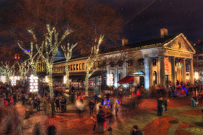 Winter In Boston - Quincy Market Art Print