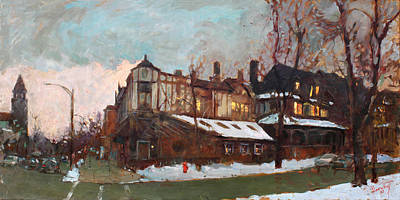 Evening Painting - Winter In Buffalo by Ylli Haruni