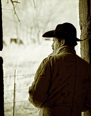 Cowboy Hat Photograph - Winter In Cow Country by Ron  McGinnis