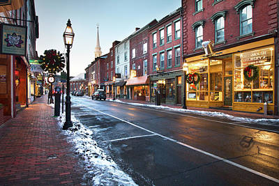 Clock Shop Photograph - Winter In Downtown Portsmouth by Eric Gendron