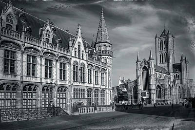 Photograph - Winter In Ghent Belgium Black And White  by Carol Japp
