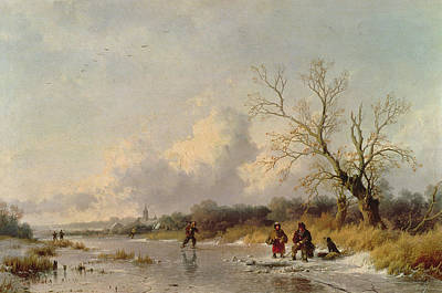 Ice Fishing Painting - Winter In Holland by Remigius van Haanen