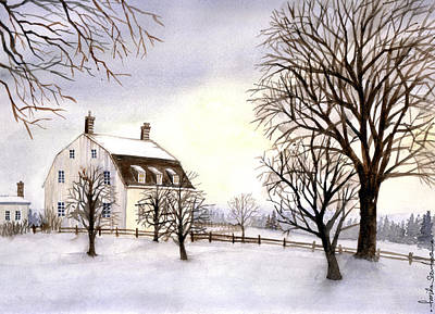 New England Snow Scene Painting - Winter In New England by Farida Greenfield