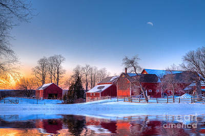 Red Barns Photograph - Winter In New England by Michael Petrizzo