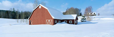 Winter In New England, Red Barn Art Print by Panoramic Images