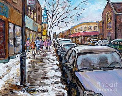 Painting - Winter In The City After Church Snowy Street Rue Wellington Verdun     Quebec C Spandau Canadian Art by Carole Spandau