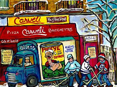 Winter In The City Carveli's Pizza Cote St Luc Hockey Art Popeye's Spinach Truck Canadian Winter Art Original by Carole Spandau
