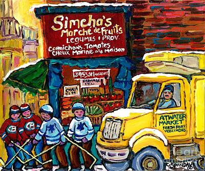 Montreal Storefronts Painting - Winter In The City Montreal Memories Jewish Landmark Simcha's Fruit Store Canadian Hockey Art  by Carole Spandau