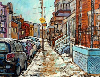 Painting - Winter In The City Montreal Street Scene Painting For Sale Snowy Quebec Winter Scene Art C Spandau   by Carole Spandau