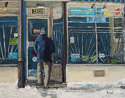 Montreal Art Verdun Street Scenes Painting - Winter In The City by Reb Frost